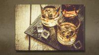 whiskey 2 glasses bottle ice klein close
