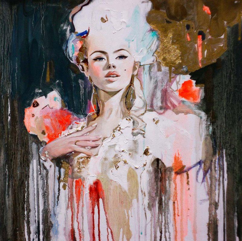 80 woman watercolor schilderij