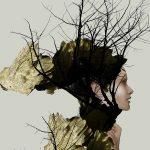 Art forest woman schilderij
