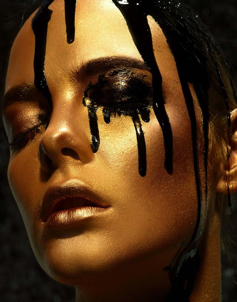 Black paint drops schilderij