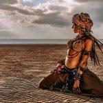 Desert woman boho schilderij