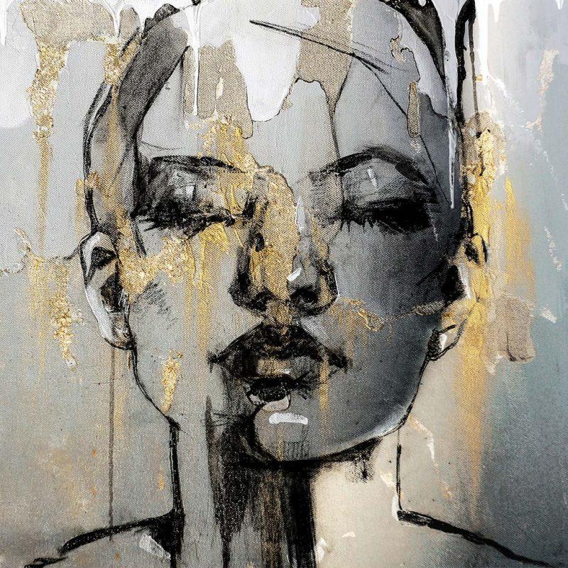 Gold black abstract schilderij