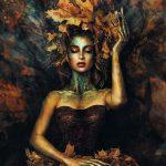 Leaves woman dark schilderij