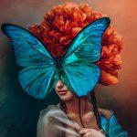 Orange flower woman schilderij