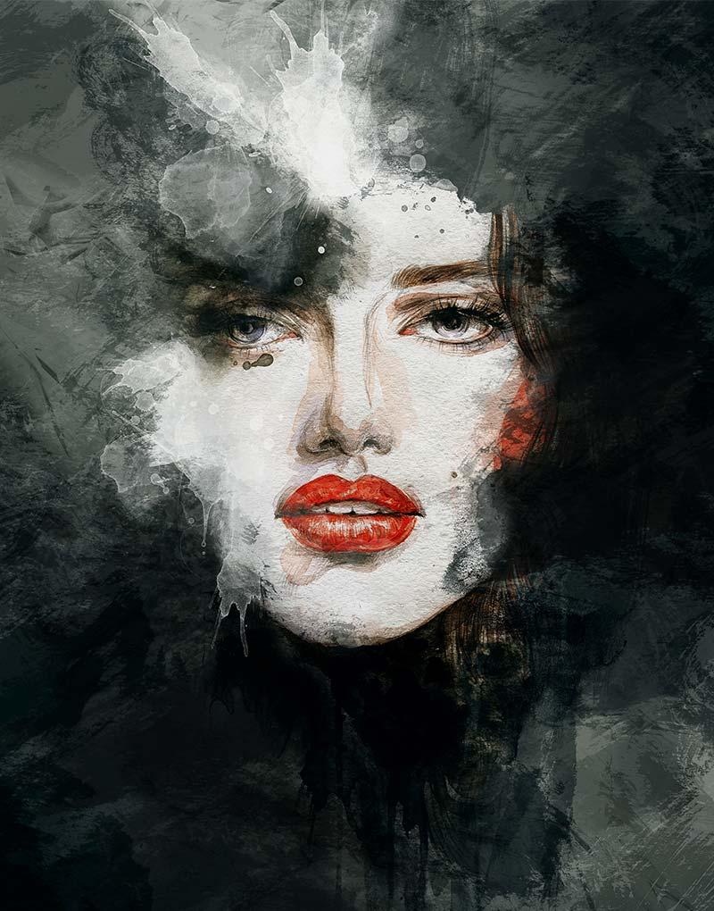 Painting woman red lips schilderij